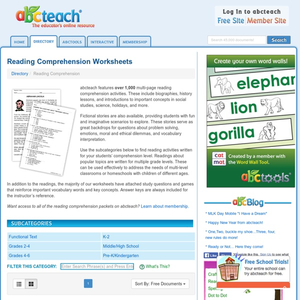 Reading Comprehension Worksheets and Printables: Fiction, Non ...