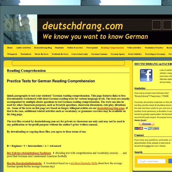 Free worksheets with short German texts