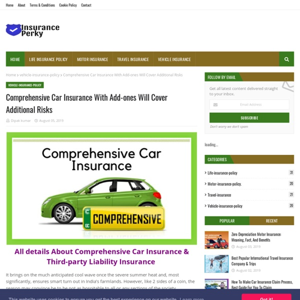 Comprehensive Car Insurance With Add-ones Will Cover Additional Risks