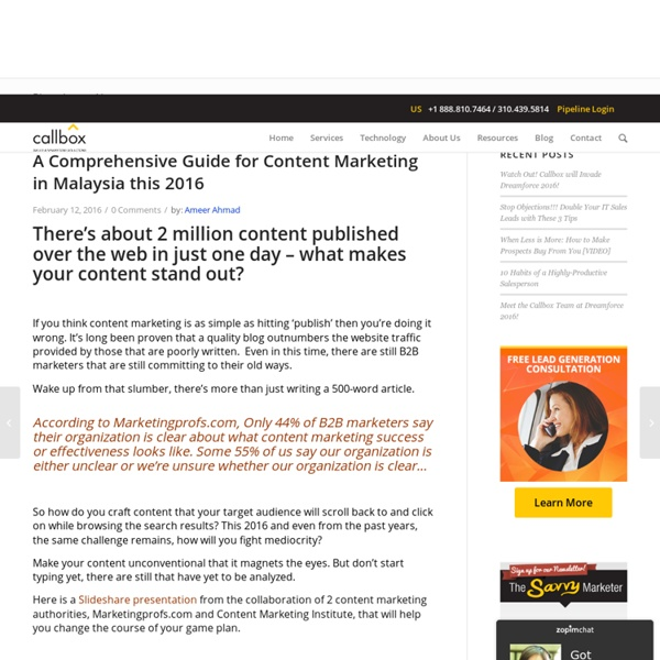 A Comprehensive Guide for Content Marketing in Malaysia this 2016