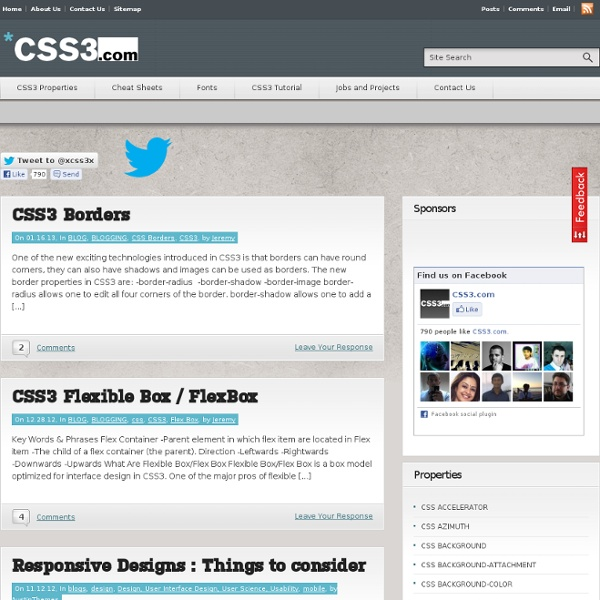 CSS3.com – A comprehensive CSS 3 reference guide, tutorial, and blog