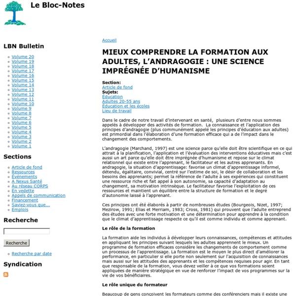 MIEUX COMPRENDRE LA FORMATION AUX ADULTES, L'ANDRAGOGIE : UNE SCIENCE IMPRÉGNÉE D'HUMANISME