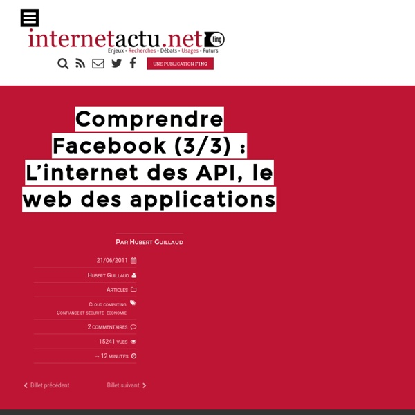 Comprendre Facebook (3/3) : L'internet des API, le web des applications
