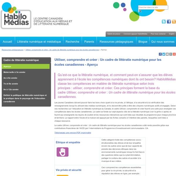 Utiliser, comprendre et créer : Un cadre de littératie numérique pour les écoles canadiennes - Aperçu