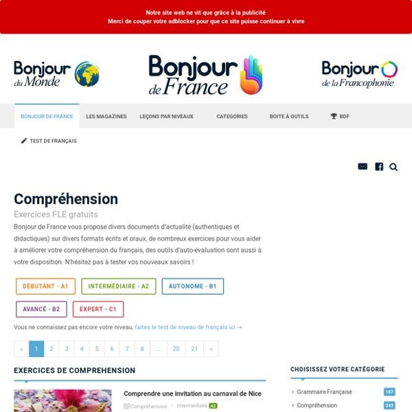 Comprendre le français – Compréhension orale et écrite - Exercices FLE A1, A2, B1, B2