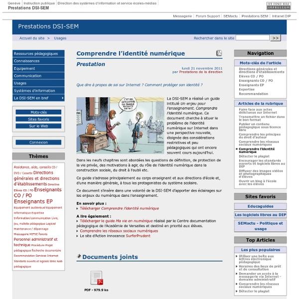 Comprendre l'identité numérique - Prestations DSI-SEM