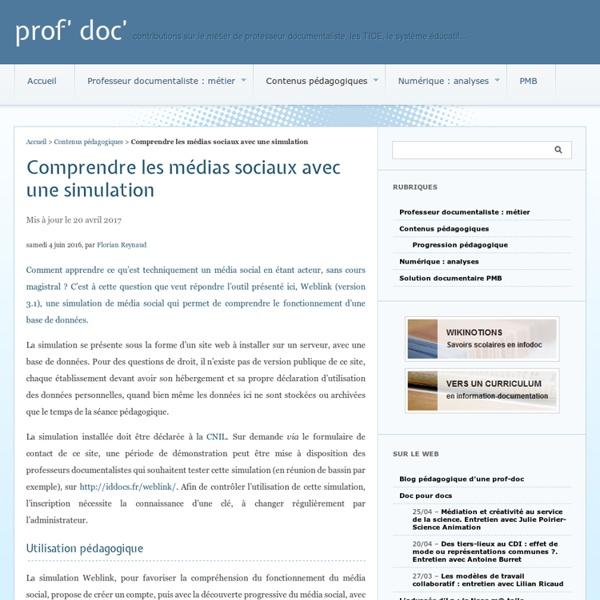 Comprendre les médias sociaux avec une simulation - prof' doc'