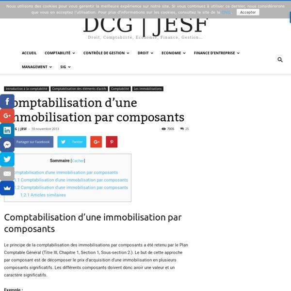 Comptabilisation d'une immobilisation par composants