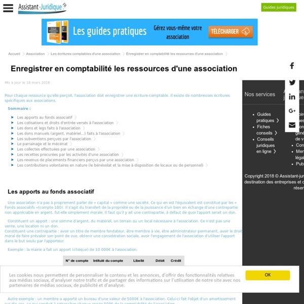 Enregistrer en comptabilité les ressources d'une association loi 1901 - Aide juridique gratuite