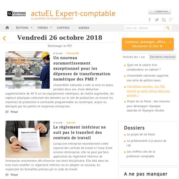 [Comptabilité, Fiscal, social, entreprise] L'actualité comptable, fiscale et managériale avec actuEL-expert-comptable.fr