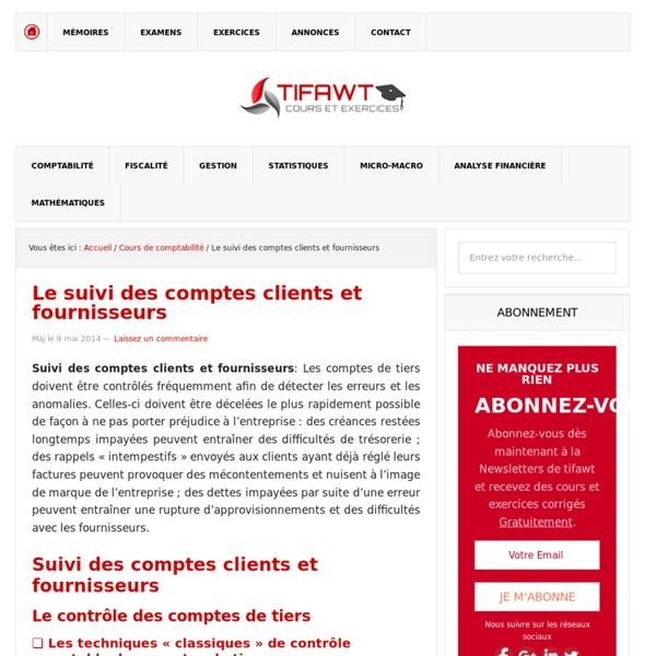 Le suivi des comptes clients et fournisseurs