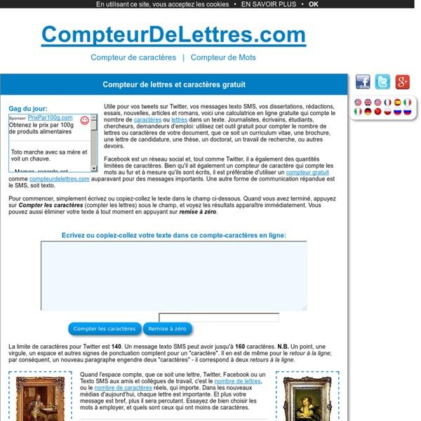 Compteur de lettres - Compte-caractères