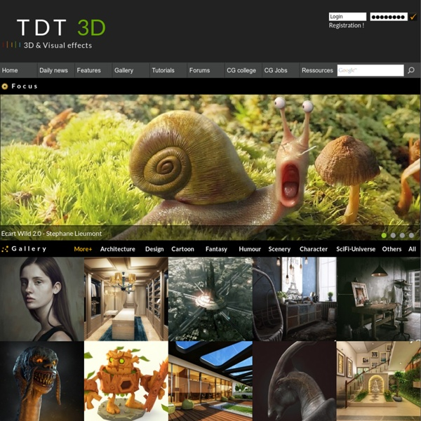 Tdt3d - Independent Computer Graphics community 2D and 3D : portfolio, gallery, e-learning, tutorials and forums 3D