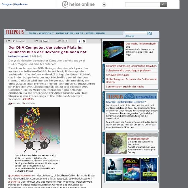 TP: Der DNA Computer, der seinen Platz im Guinness Buch der Rekorde gefunden hat