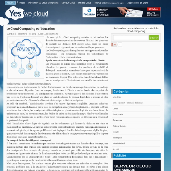 » Le Cloud Computing et l'éducation