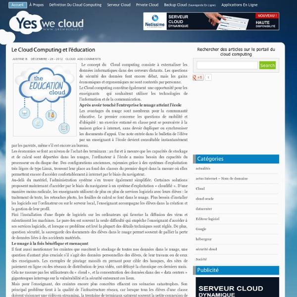 » Le Cloud Computing et l'éducation