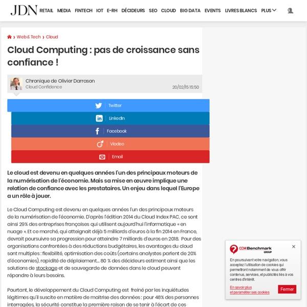 Cloud Computing : pas de croissance sans confiance !