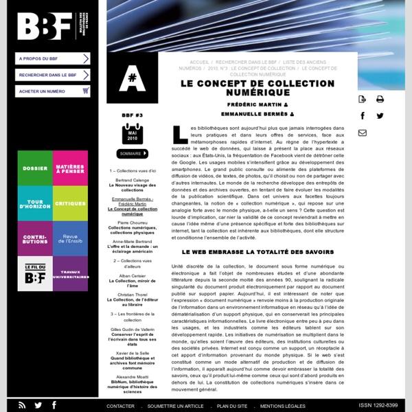 Le concept de collection numérique