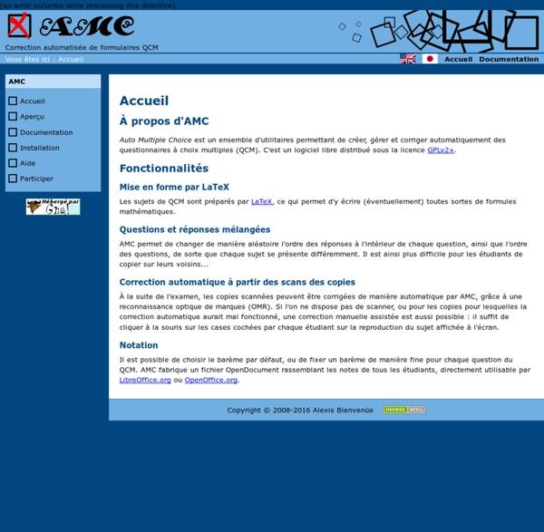 AMC - Conception et correction automatique de QCM - Accueil
