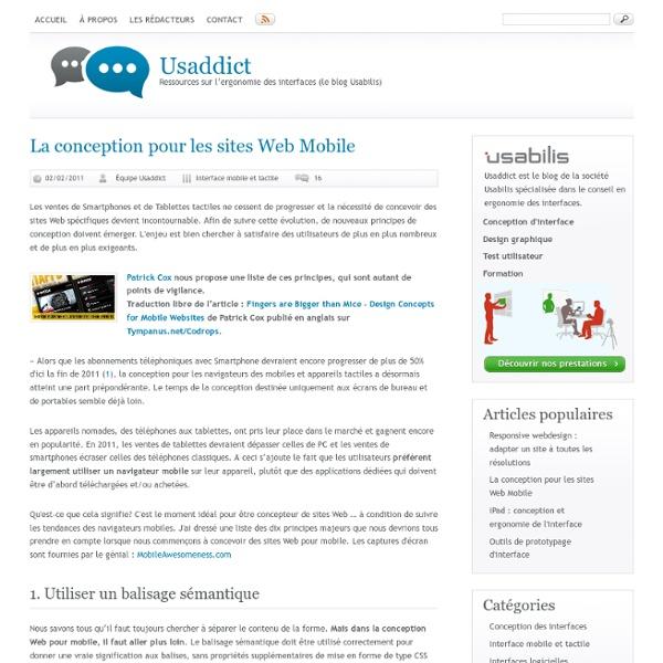 La conception pour les sites Web Mobile (Usaddict)