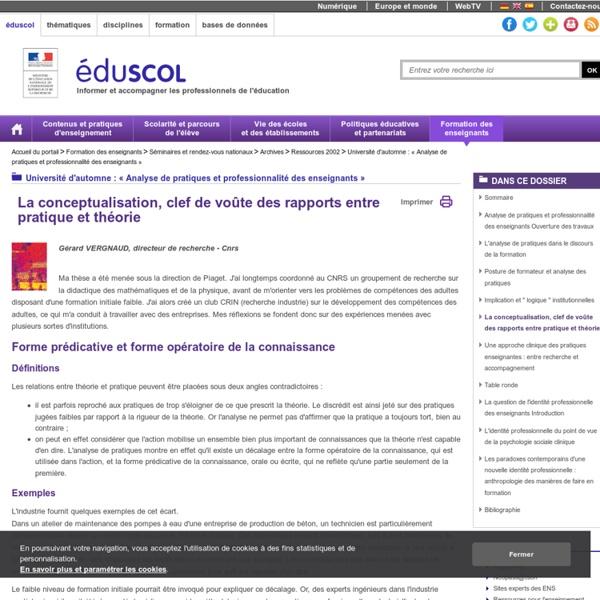 Université d'automne : « Analyse de pratiques et professionnalité des enseignants » - La conceptualisation, clef de voûte des rapports entre pratique et théorie