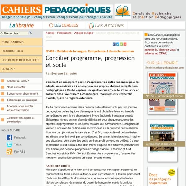 Concilier programme, progression et socle