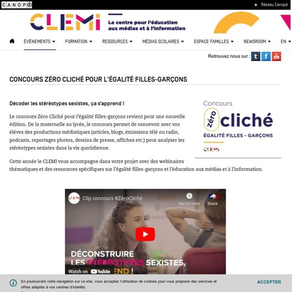 Concours Zéro Cliché pour l'égalité filles-garçons- CLEMI