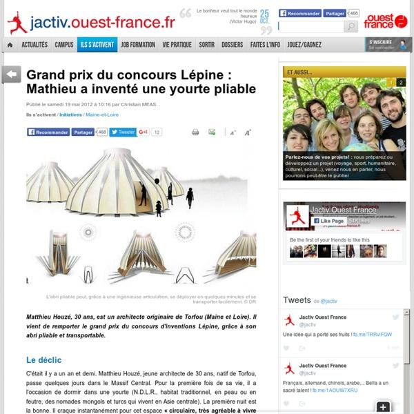 Grand prix du concours Lépine : Mathieu a inventé une yourte pliable