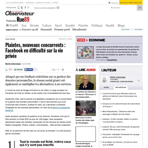FaceBook en difficulté sur la vie privée