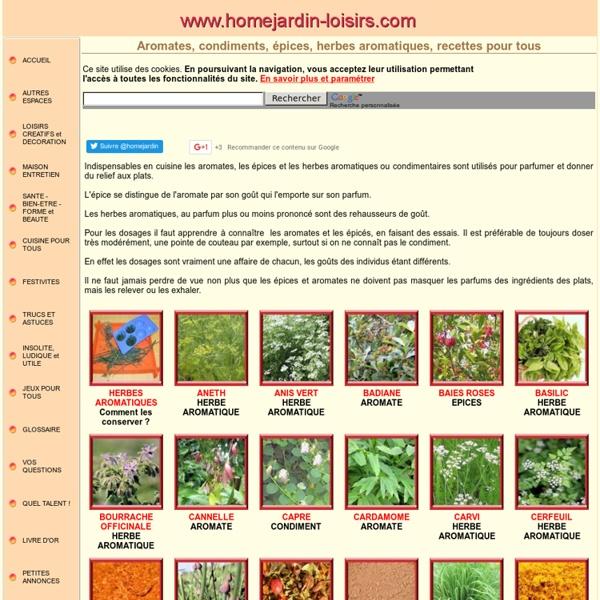 Listes Des épices : De a à z les aromates condiments épices et herbes