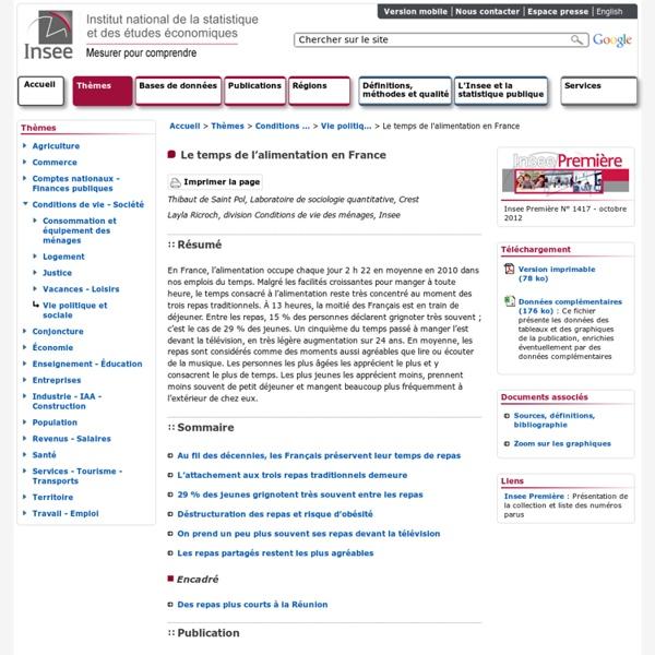 Conditions de vie-Société - Le temps de l'alimentation en France