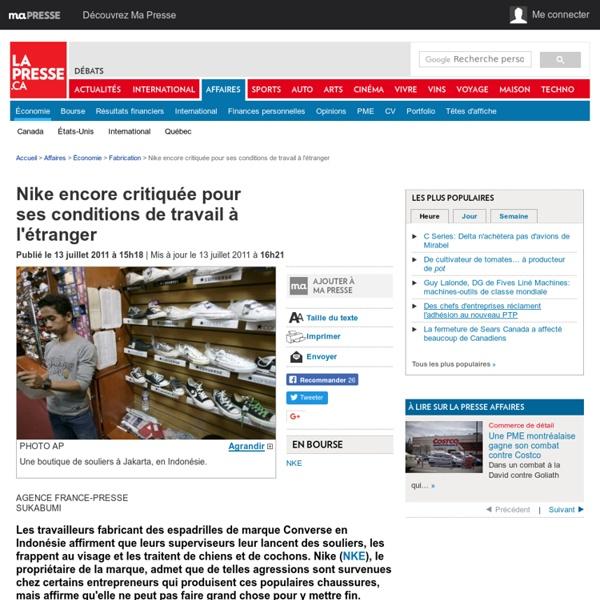 Nike encore critiquée pour ses conditions de travail à l'étranger