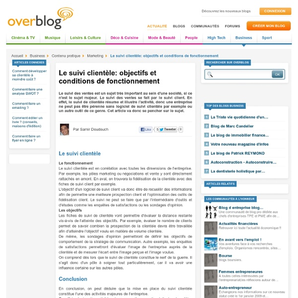 Le suivi clientèle: objectifs et conditions de fonctionnement