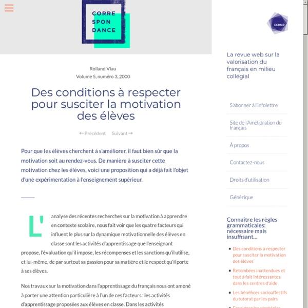 Des conditions à respecter pour susciter la motivation des élèves – Correspondance