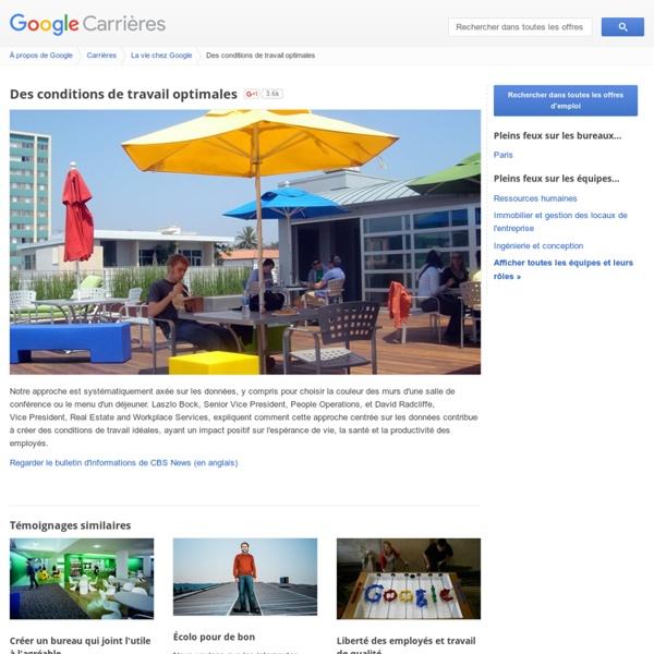 Des conditions de travail optimales - Google Carrières
