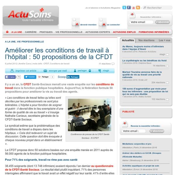 Améliorer les conditions de travail à l'hôpital : 50 propositions de la CFDT