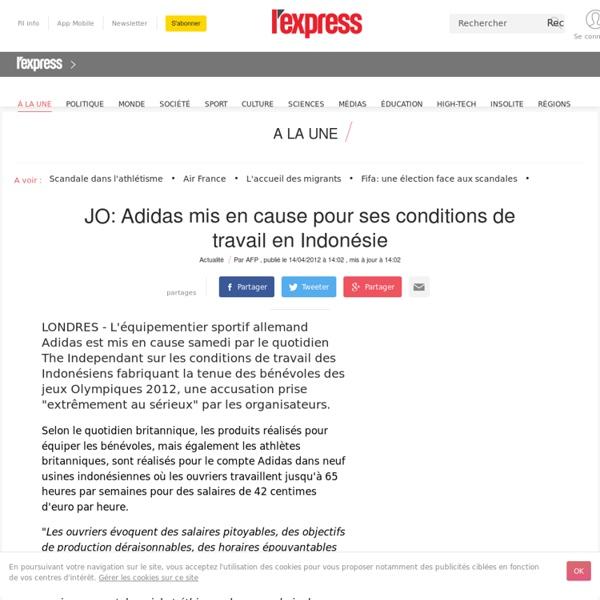 JO: Adidas mis en cause pour ses conditions de travail en Indonésie