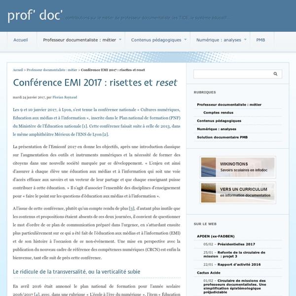 Conférence EMI 2017 : risettes et reset - prof' doc'