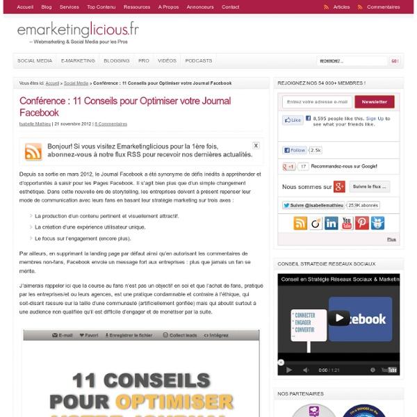 Conférence : 11 Conseils pour Optimiser votre Journal Facebook
