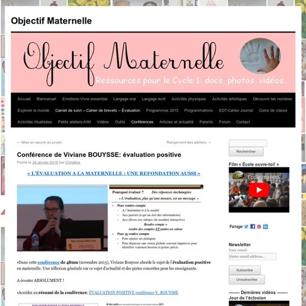 Conférence de Viviane BOUYSSE: évaluation positive