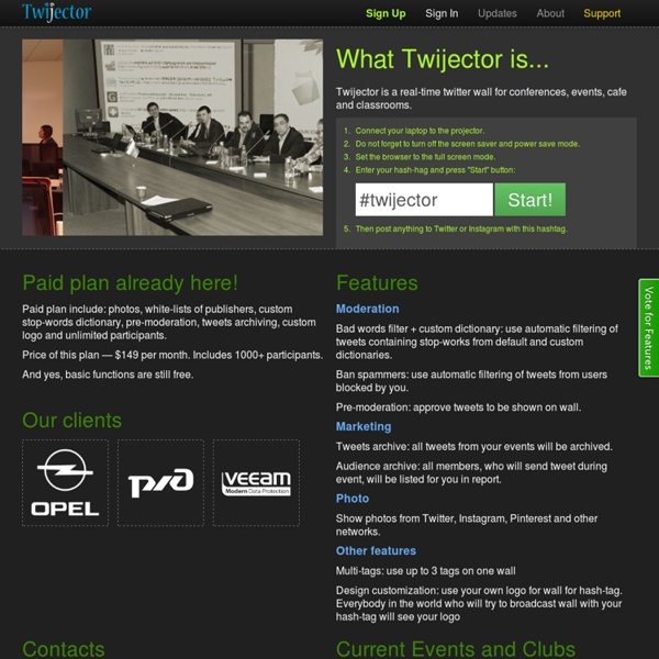 Twijector - real-time twitter wall (back channel) for conferences and events
