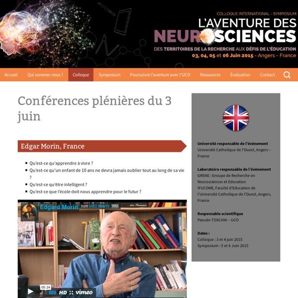 Colloque Neurosciences Angers 2015 - Conférences du 3 juin