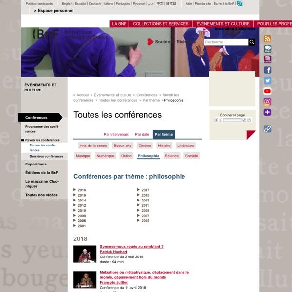 Bibliothèque Nationale de France - Les Cours et conférences de philosophie
