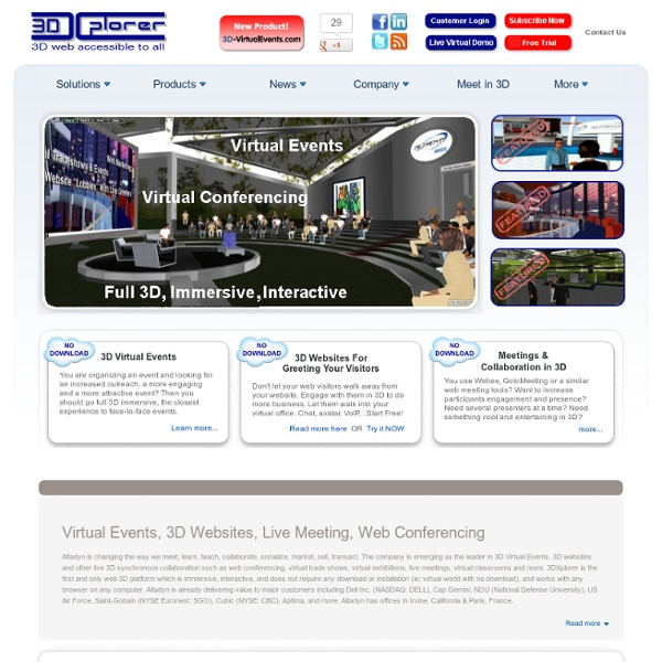 Virtual Events in 3D, 3DXplorer,conference trade-show meeting collaboration cloud computing elearning marketing virtual worlds classroom 3D websites,no download