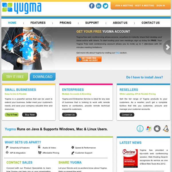 Yugma, Free Web Conferencing, Online Meetings, Web Collaboration Service, Free Desktop Sharing, video conferencing, remote control software, net meeting, mac conferencing.