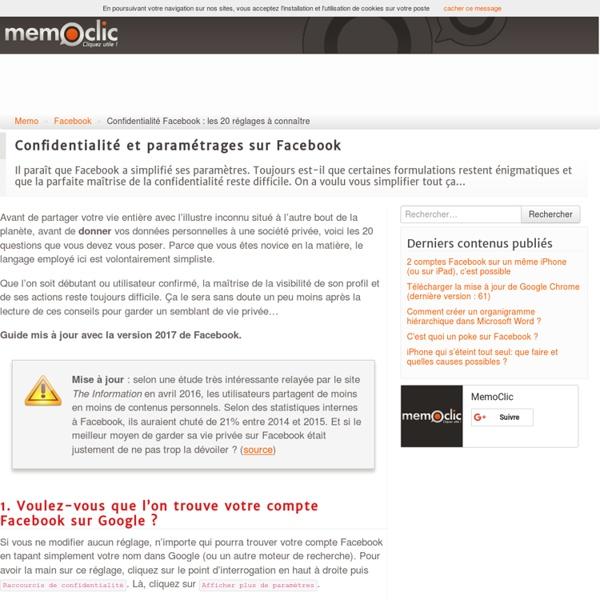 Confidentialité Facebook : les 20 réglages à connaître