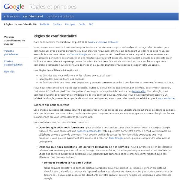 Règles de confidentialité – Règles et principes – Google
