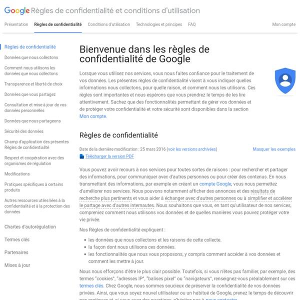 Règles de confidentialité – Règles de confidentialité et conditions d'utilisation