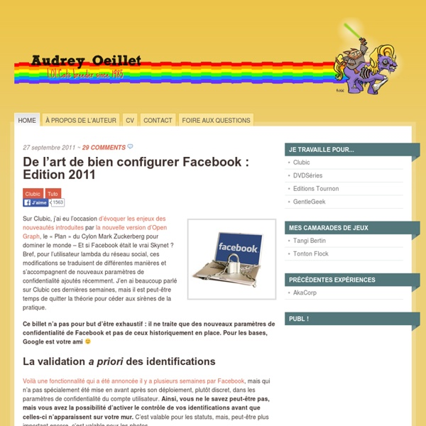 De l'art de bien configurer Facebook : Edition 2011
