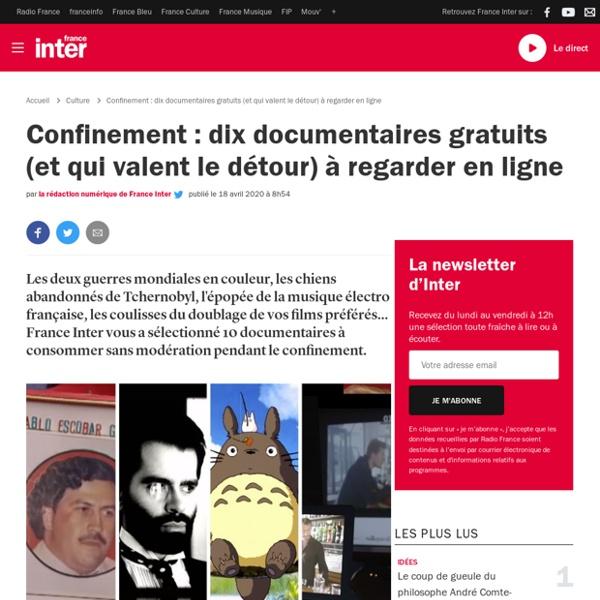 Confinement : dix documentaires gratuits (et qui valent le détour) à regarder en ligne